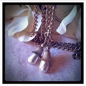 Vintage Large Faux Pearl Tassel Lariat Necklace